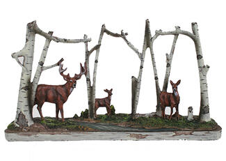 Deer Family in Birch Woods