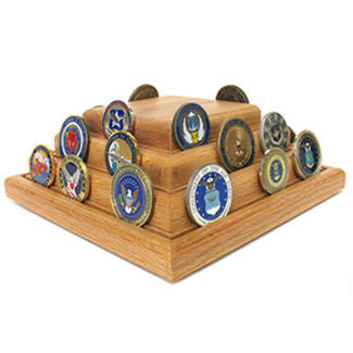 Pyramid Wood Coin/Award Display Base